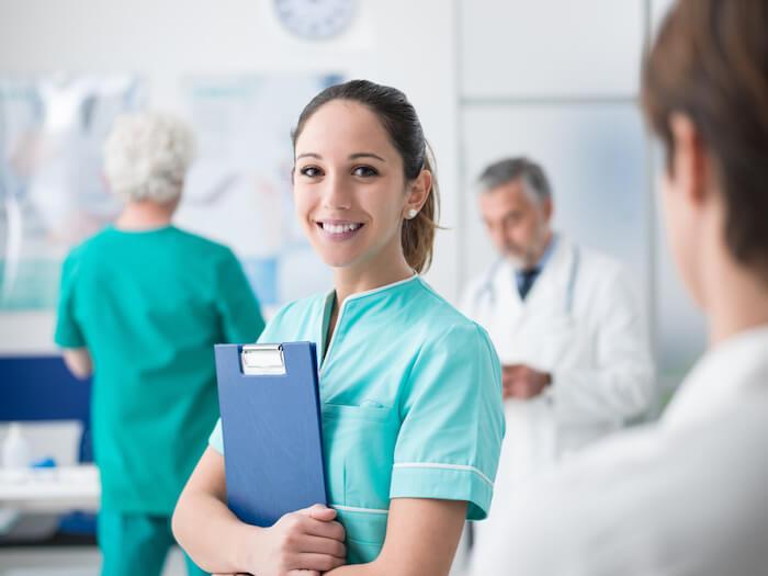 nurse with medical clipboard